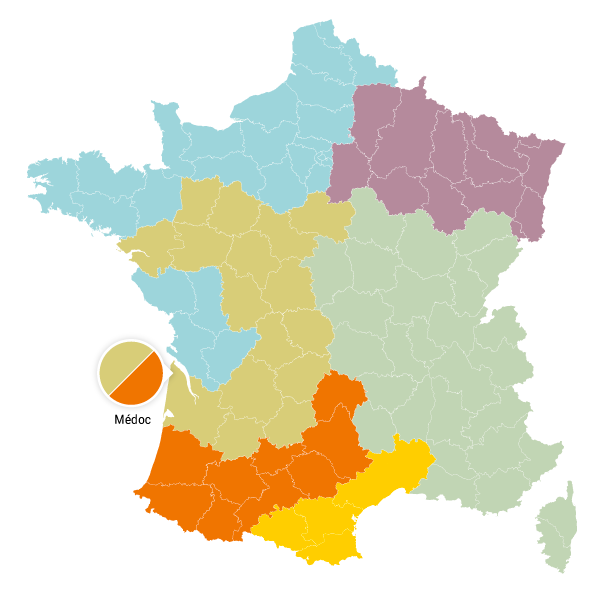 Une carte de France en couleurs